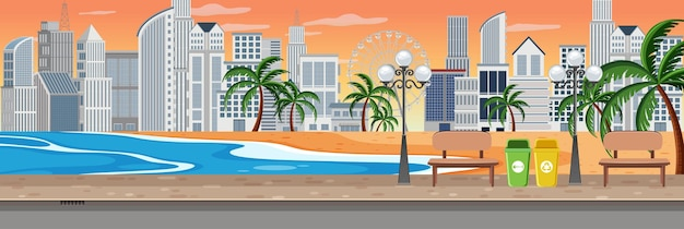 Beach at sunset scene with cityscape horizontal background