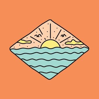 ビーチサンセット夏グラフィックイラストベクトルアートtシャツデザイン