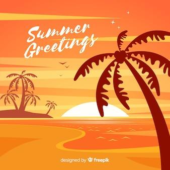 ヤシのシルエットとビーチの日の入り日の出