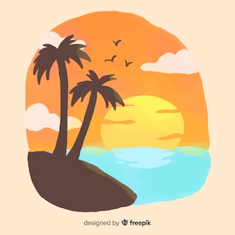 Beach sunset sunrise with palm silhouette