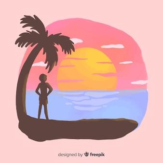 Пляж закат восход с ладонь силуэт