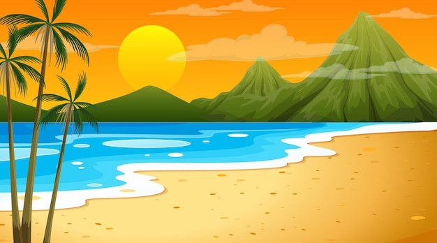 Beach at sunset time landscape scene with mountain