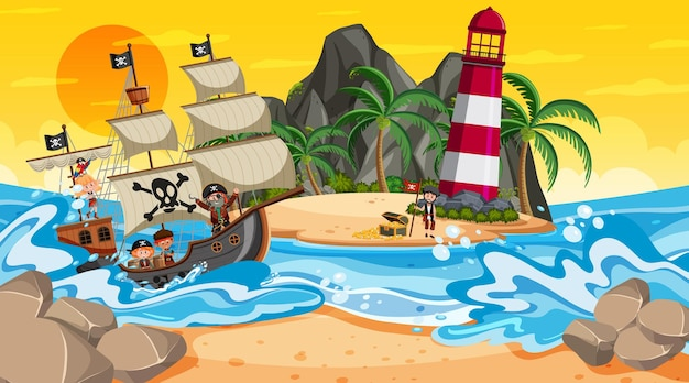 Beach at sunset time scene with pirate kids cartoon character on the ship