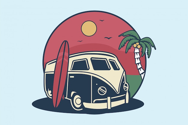 Beach surf car palm illustration
