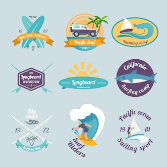Beach surfing summer yachting labels set isolated vector illustration.