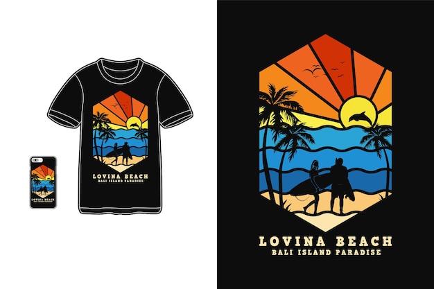 Пляж, футболка дизайн силуэт в стиле ретро