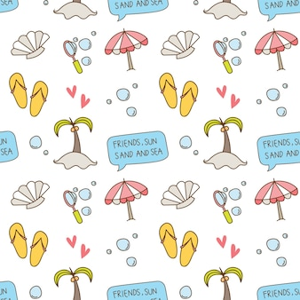 Beach theme seamless background