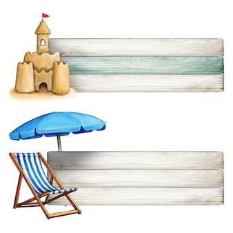 해변 테마 배너 모래 성 및 비치 의자