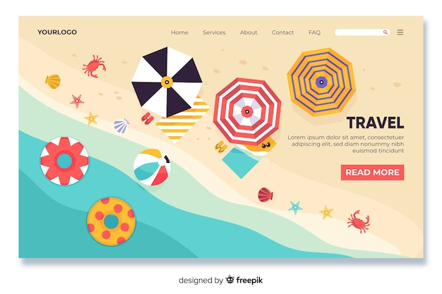 Beach themed travel landing page