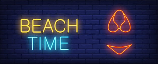 Beach time illustration in neon style. colorful text and red bikini on brick wall