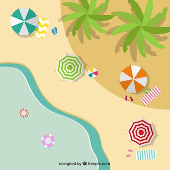 Beach in a top view background