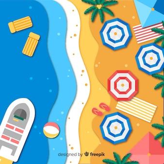 紙のスタイルの背景のビーチトップビュー