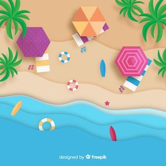 Вид сверху на пляж в бумажном стиле