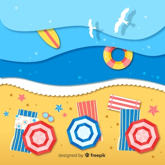 Beach top view in paper style background