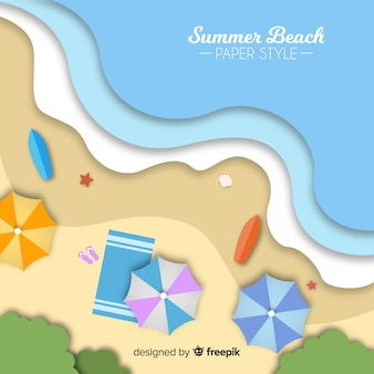 Beach top view in paper style