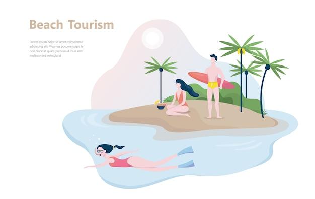 ビーチ観光のコンセプトです。夏休みのアイデア