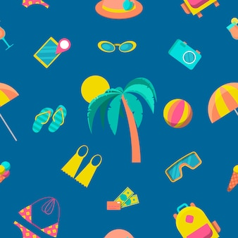 Beach tourism and travel seamless pattern.