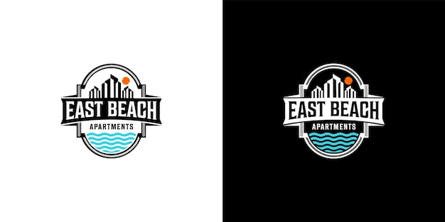 Beach and town logo design templat