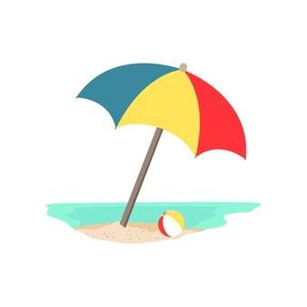 ビーチの傘とボール