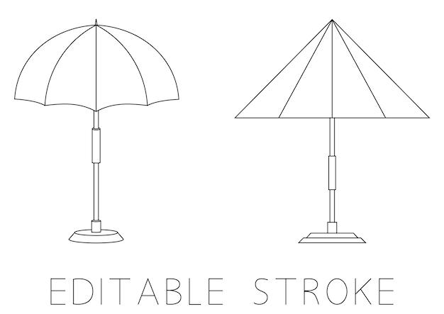 비치 우산 비치 또는 수영장 우산 선형 아이콘 얇은 선 그림 등고선 기호