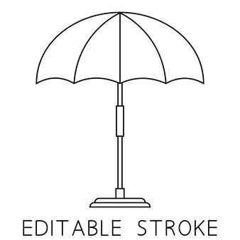 Пляжный зонтик линейный значок пляжного зонтика или зонтика для бассейна тонкая линия иллюстрации символ контура