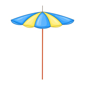 Beach umbrella in cartoon style isolated on white background.