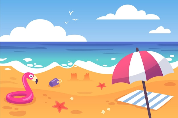 Beach umbrella and floatie summer background