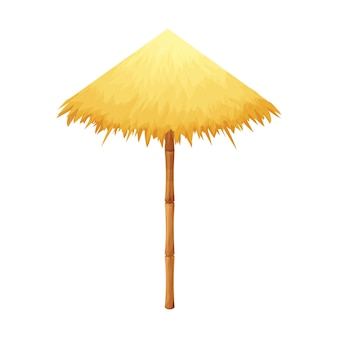 Beach umbrella from straw and bamboo in cartoon style