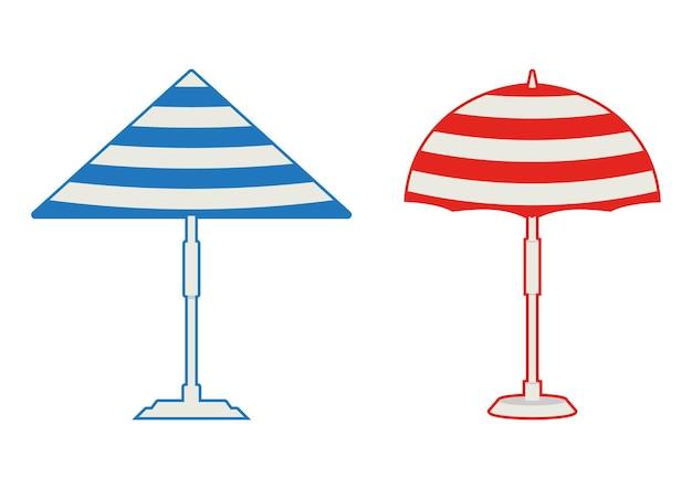 비치 우산 아이소메트릭 파라솔 빨간색과 파란색 색상의 해변 또는 수영장 우산