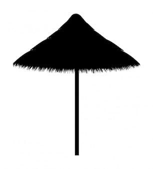 Beach umbrella made for shade black contour silhouette