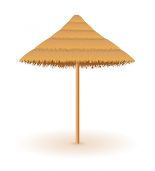 Beach umbrella made of straw and reed for shade