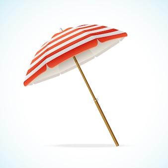 비치 파라솔 빨간색과 흰색. 바다로 휴가를 보내는 상징