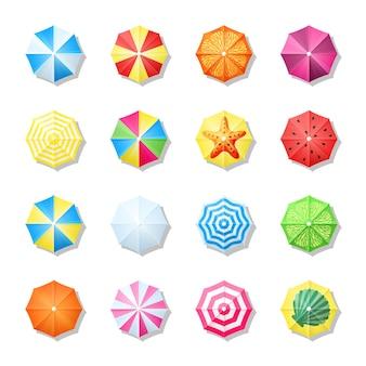 Пляжные зонтики разноцветные вид сверху набор