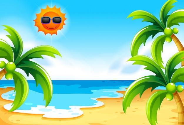 太陽の下のビーチ