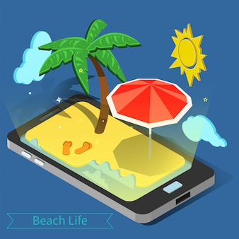 Beach vacation. summer time. tropical vacation. exotic island. advertisement banner. phone with tropical island. palm trees.