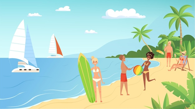 해변 휴가. 여름철, 칵테일, 공, 바다에 서핑 보드와 젊은 사람들.