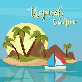 Пляжный отдых. тропический рай. экзотический остров с пальмами. векторная иллюстрация