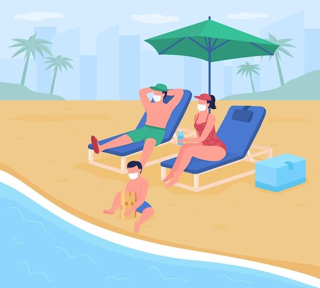 新しい安全基準フラットカラーイラストとビーチでの休暇