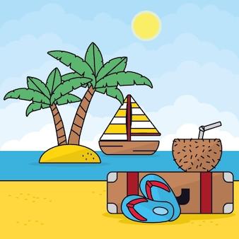 Иллюстрация пляжных каникул с парусной лодкой