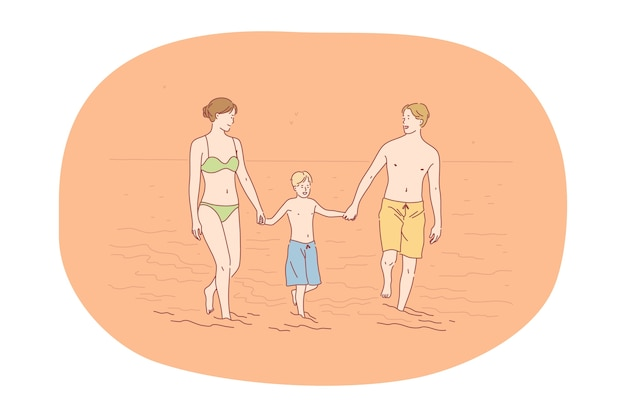 여름 개념에서 해변 휴가 여행