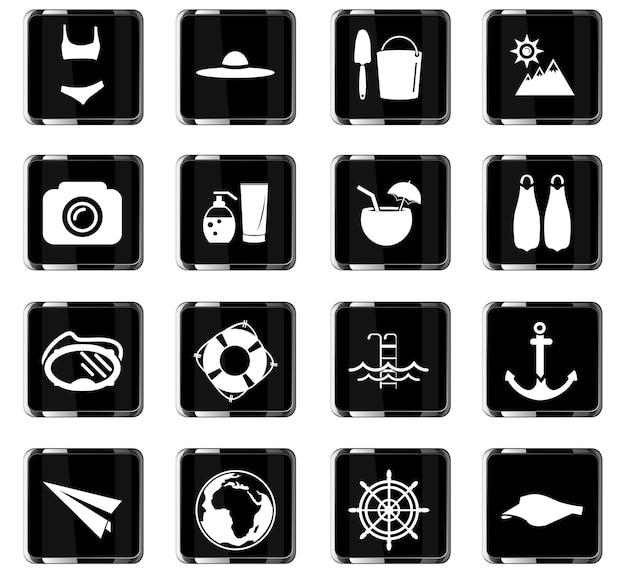 사용자 인터페이스 디자인을 위한 해변 벡터 아이콘