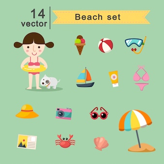 Beach vector set