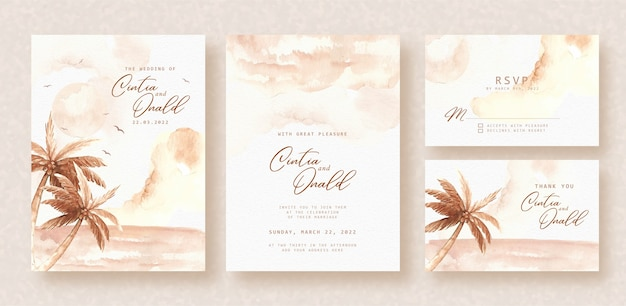 Beach view watercolor background on wedding invitation