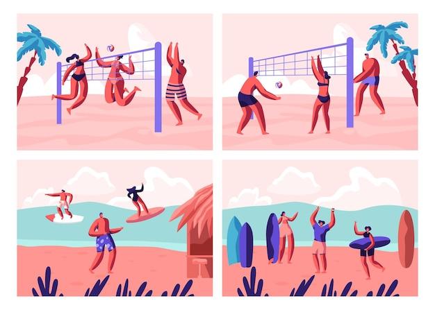 ビーチバレーボールとサーフィンのセット。漫画フラットイラスト