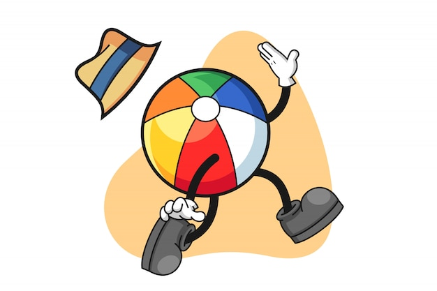 Beach volleyball cartoon character jumping