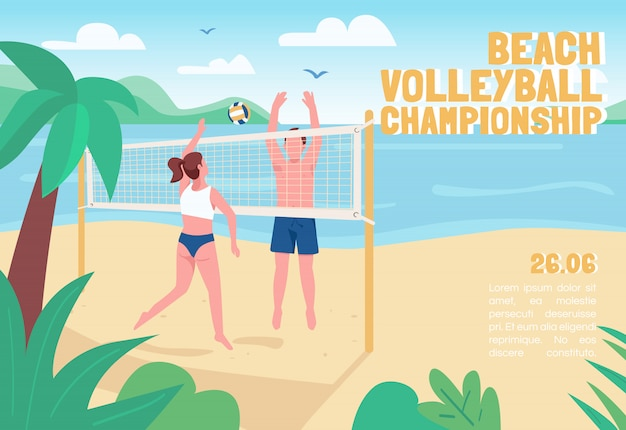 Beach volleyball championship banner flat template. brochure, poster concept design with cartoon characters. summertime active recreation horizontal flyer, leaflet with place for text