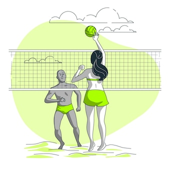 Beach volleyball concept illustration