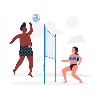 Иллюстрация концепции пляжного волейбола