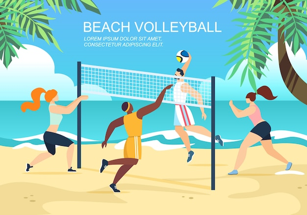 Beach volleyball horizontal banner with multiracial teams competition