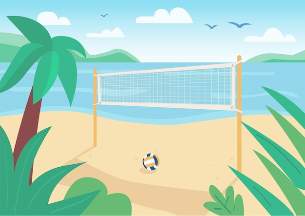 Beach volleyball net flat color illustration. ball game outdoor cort. summer vacation entertainment. seacoast 2d cartoon landscape with water and tropical palm trees on background